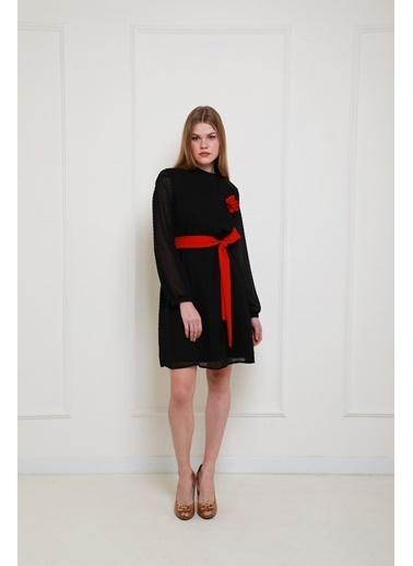 JEANNE D'ARC Yakadan Bağlamalı Kesme Puantiyeli Şifon Elbise  Siyah
